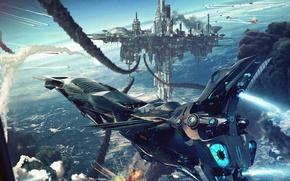 Picture War, Ship, Earth, Battle, Art, starship, Sci-Fi, Space city
