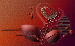 Picture flower, style, background, heart