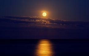 Picture sea, clouds, night, the moon, moonlight road