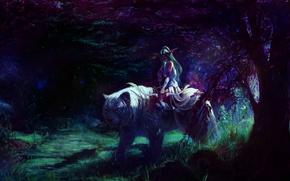 Picture forest, girl, figure, Archer, fantasy, art, shadows, fantasy, elf, rider, Blizzard, white tiger, art, WarCraft, ...
