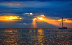 Picture sea, the sky, clouds, rays, sunset, boat, yacht