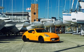 Picture Nissan, tuning, orange, 370z, vossen, frontside