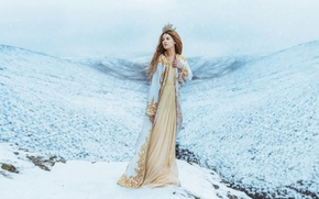 Picture mountains, snow, snowfall, Wallpaper from lolita777, winter, Princess, crown, girl, Queen, dress