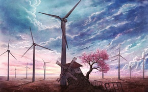 Picture the sky, blue, petals, Sakura, mill, blooming, abandoned, Sakura tree