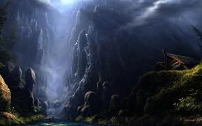 Picture mountains, house, stream, stones, rocks, art, Fel-X