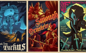 Picture Art, Dark Souls, Black Iron Tarkus, Sif The Great Grey Wolf, Ornstein Dragon Slayer, Smough …
