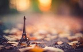 Wallpaper asphalt, Eiffel tower, stand, La tour Eiffel, leaves, blur, bokeh, dry, figurine, autumn