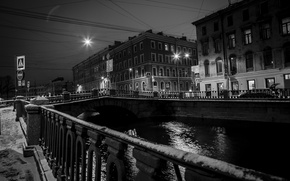 Picture snow, bridge, the city, lights, house, Peter, Saint Petersburg, old, bridges, promenade, center, Neva, Fund, …