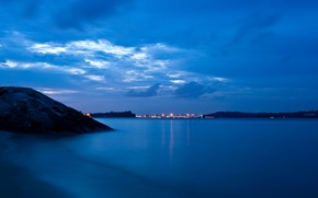 Picture the sky, lights, blue, the ocean, mountain, Sea, the evening, town, twilight, away