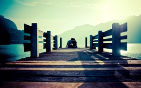 Picture sea, the sky, water, girl, the sun, mountains, bridge, background, stay, widescreen, Wallpaper, romance, mood, ...