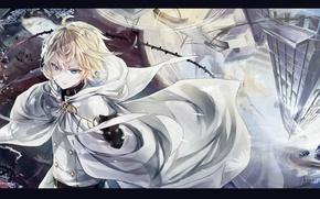 Wallpaper water, reflection, vampire, cloak, art, military uniform, Owari no Seraph, Michaela Hyakuya, The last Seraphim, ...