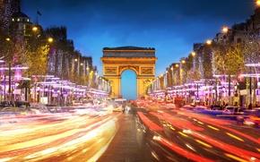 Picture road, machine, the city, people, France, Paris, the evening, excerpt, Paris, France, Arc de Triomphe, …