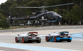 Wallpaper road, machine, race, track, helicopter, Bugatti Veyron