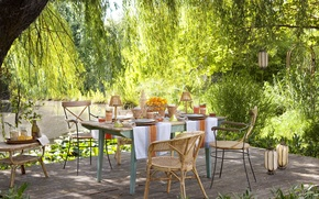 Picture summer, pond, table, garden, fruit, picnic, drinks, terrace