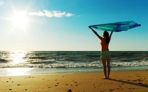 Picture sand, sea, beach, freedom, water, the sun, joy, girls, mood, the ocean