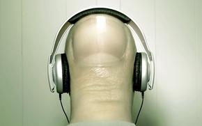 Wallpaper nail, strange, headphones, finger, music