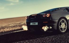 Picture fire, flame, ferrari, black, f430, speed, 430