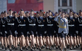 Picture girls, holiday, victory day, parade, red square