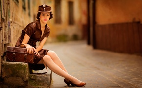Picture girl, the city, street, uniform, Girl in brown