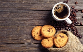 Picture coffee, chocolate, grain, cookies, Cup, pouch