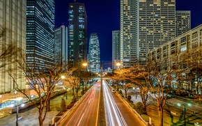 Picture night, lights, home, Japan, Tokyo, track