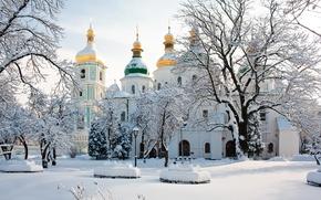 Picture winter, snow, trees, Ukraine, Kiev, Saint Sophia Cathedral