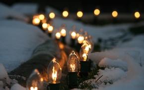 Picture winter, macro, snow, lighting, light bulb