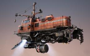 Picture fiction, train, art, flies, mechanisms, train, Freightliner, freight train
