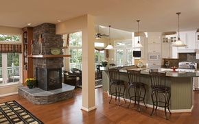 Picture design, style, interior, kitchen, fireplace, living space