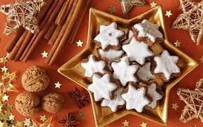 Picture holiday, new year, stars, cookies, the scenery, nuts, sweet, happy new year, christmas decoration, Christmas …