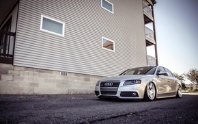 Picture Audi, Audi, silver, metallic, stance, frontside