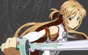 Wallpaper look, Sword Art Online, asuna, Asuna, sword, Anime, sword art online, eyes