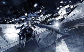 Picture road, girl, light, the city, lights, weapons, home, anime, art, motorcycle, black rock shooter, insane …