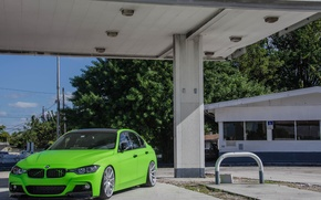 Picture Green, BMW, Lights, F30, Tuning, Matte Green, BMW, 330d