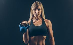 Picture workout, blue, Russian cufflink, blonde, fitness