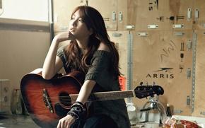 Picture girl, music, guitar, Asian, South Korea, Black, k-pop