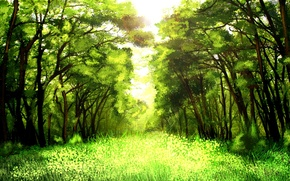 Picture Sunny, greens, art, nature, trees, grass, forest