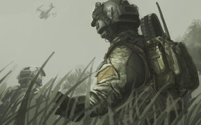 Wallpaper art, helmet, backpack, helicopter, Black Ops 2, figure, Call of Duty, the sky, grass, fighters