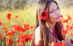 Wallpaper flowers, look, nature, face, hair, girl, Maki, summer, eyes