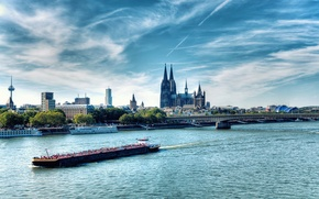 Picture bridge, river, Germany, Cathedral, ship, Cologne, Rhine