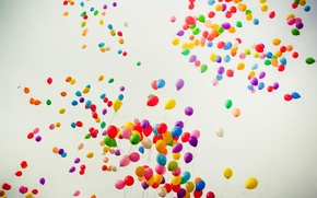 Picture flight, joy, color, rainbow, balloons