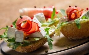 Picture cheese, bread, sandwich, ham, appetizer