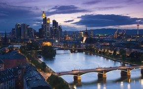 Picture the city, river, home, the evening, bridges, street, skyscrapers, trees ., frankfurt
