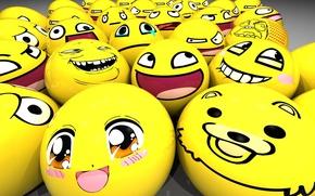 Wallpaper Balls, smiles, Kawai