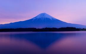 Picture the sky, trees, sunset, lake, Japan, mount Fuji