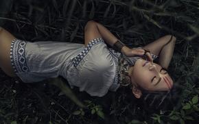 Picture grass, girl, face, model, hair, lies, Asian, paint