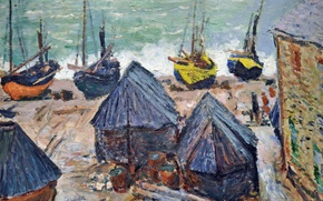Picture landscape, picture, Claude Monet, Boats on the Beach in Étretat