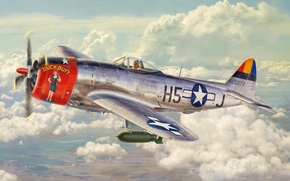 Picture aviation, ww2, painting, american fighter, airplane, art, P 47 Thunderbolt, aircraft, war
