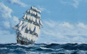 Wallpaper Ship, Sails, The sky, Figure, Sailboat, Painting, Sea