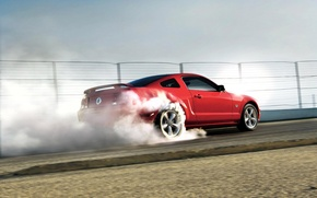 Wallpaper red, smoke, Mustang, Ford Mustang